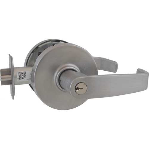 Sargent 10G04LL26D Storeroom / Closet Lever Lock Grade 1 with L Lever and L Rose with L4 Keyway and T Strike Satin Chrome Finish