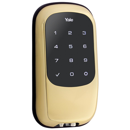 Yale YRD120 ZW 605 Keyless Touchscreen Deadbolt with Z-Wave Bright Brass Finish