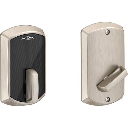 Schlage BE467FGRW626 Greenwich Control Keyless Smart Fire Rated Deadbolt with 12398 Latch and 10116 Strike Satin Chrome Finish