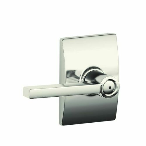 Schlage F40LAT618CEN Latitude Lever with Century Rose Privacy Lock with 16080 Latch and 10027 Strike Bright Nickel Finish